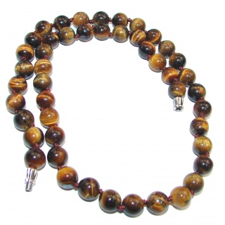 Large Perfect Gift Golden Tigers Eye .925 Sterling Silver handmade Necklace