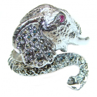 Elephant Natural Marcasite Ruby .925 Statement Sterling Silver ring size 8