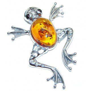 Huge Lucky Frog Butterscotch Baltic Polish Amber Sterling Silver Pendant