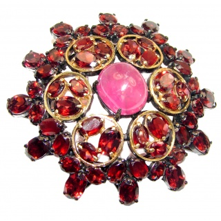 Large genuine Kashmire Ruby Garnet black rhodium .925 Sterling Silver handmade Pendant - Brooch