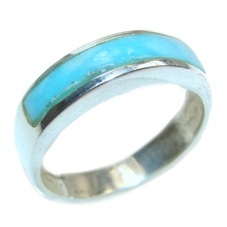 Natural inlay Larimar .925 Sterling Silver handcrafted Ring s. 6 1/4