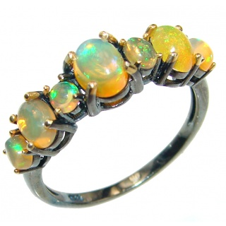 Dazzling natural Ethiopian Opal Rose Gold over .925 Sterling Silver handcrafted ring size 9