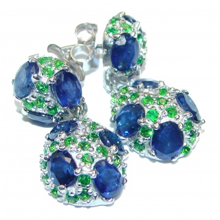 Kyanite Chrome Diopside .925 Sterling Silver handcrafted earrings