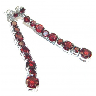 Angelica authentic Garnet .925 Sterling Silver handcrafted stud earrings