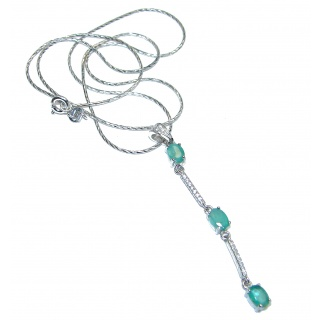 Cute Colombian Emerald .925 Sterling Silver necklace