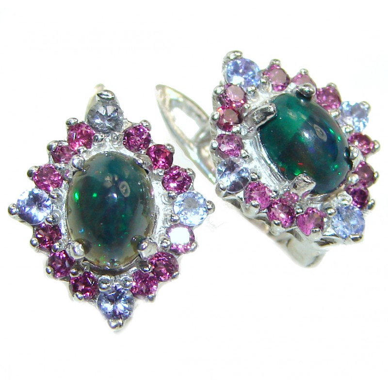 Earth Treasure Authentic Black Opal .925 Sterling Silver handcrafted stud earrings
