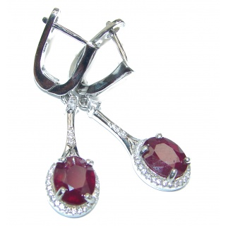 Authentic Ruby .925 Sterling Silver handmade LARGE earrings