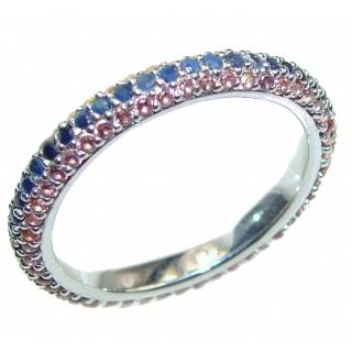 Exotic Multicolor Sapphire .925 Silver Ring s. 8