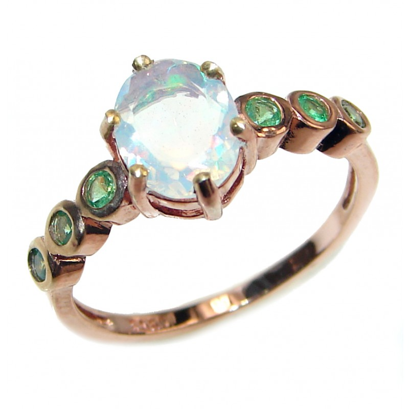 Dazzling natural Ethiopian Opal Rose Gold over .925 Sterling Silver handcrafted ring size 6