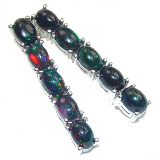 Incredible Design authentic Black Opal .925 Sterling Silver handcrafted earrings