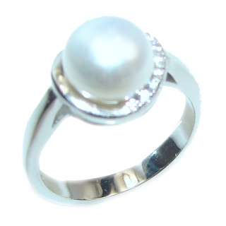 Pearl .925 Sterling Silver handmade ring size 6