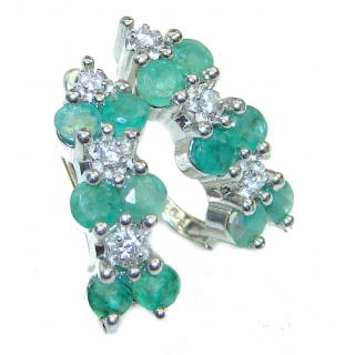 Precious genuine Emerald .925 Sterling Silver earrings
