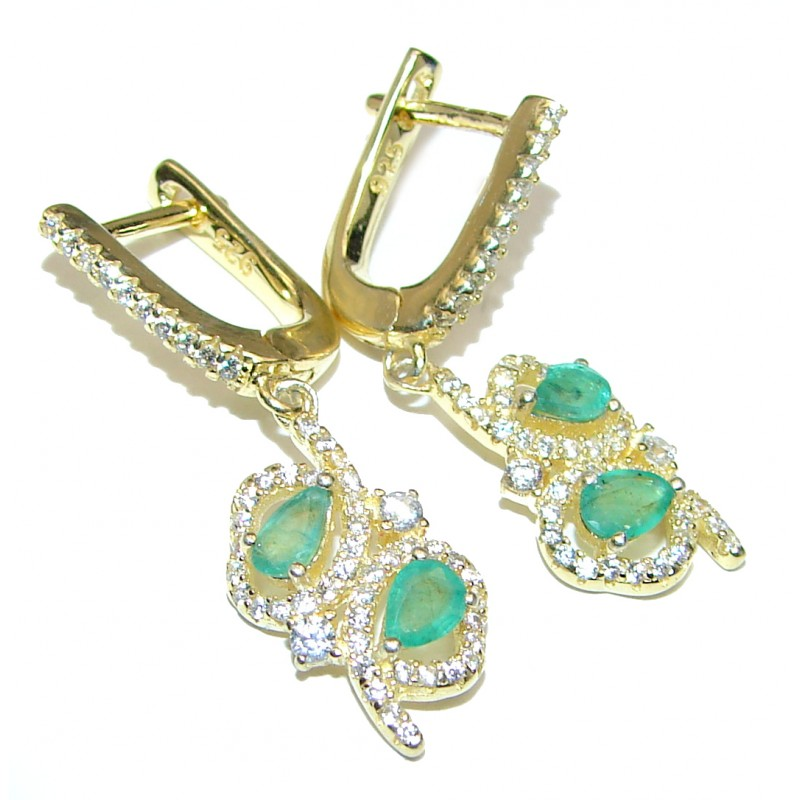 Precious genuine Emerald 14K Gold over .925 Sterling Silver earrings