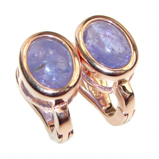 Perfect genuine Tanzanite 14K Gold over .925 Sterling Silver handmade earrings