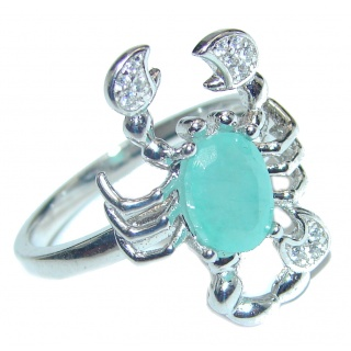 Scorpio Emerald .925 Sterling Silver handmade Ring size 8