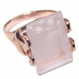 Emerald Cut 15ctw Rose Quartz Rose Gold over .925 Sterling Silver brilliantly handcrafted ring s. 6 1/4