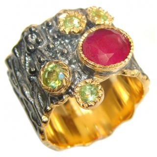 Genuine Ruby 18K Gold .925 Sterling Silver handcrafted Statement Ring size 7 1/2