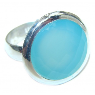 Blue Chalcedony Agate .925 Sterling Silver handcrafted Ring s. 9 3/4