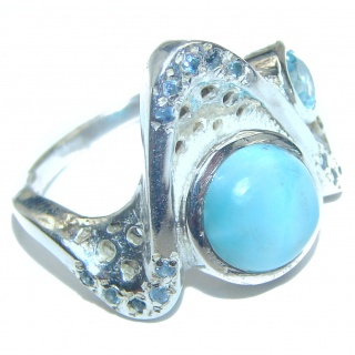 Larimar .925 Sterling Silver handcrafted Ring s. 6 1/4