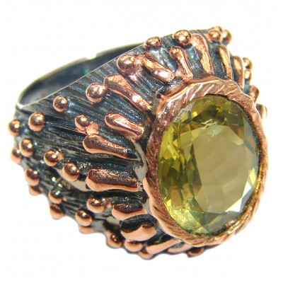Real Beauty Genuine Citrine 14K Gold over .925 Sterling Silver handmade Ring size 7 1/2