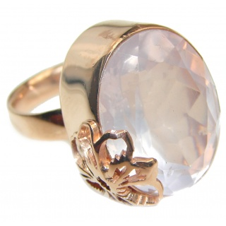 Pear Cut 45ctw Rose Quartz Rose Gold over .925 Sterling Silver brilliantly handcrafted ring s. 6 1/4