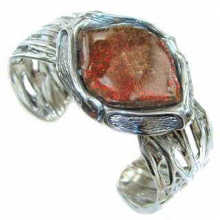 One in the World Natural Ammolite .925 Sterling Silver handcrafted Bracelet / Cuff
