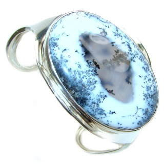 Huge Dendritic Agate highly polished .925 Sterling Silver handcrafted Cuff/Bracelet