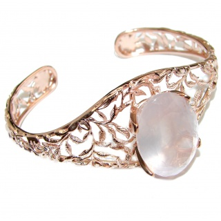 Incredible Genuine 95CTW Rose Quartz Rose quartz .925 Sterling Silver handcrafted Bracelet / Cuff