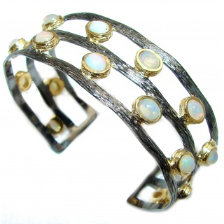 Sublime Ethiopian Opal 14K Gold Rhodium over .925 Sterling Silver Bracelet / Cuff