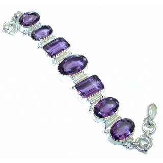 Get Glowing Purple Quartz .925 Sterling Silver handcrafted Bracelet