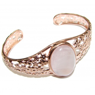 Incredible Genuine 62CTW Rose Quartz Rose quartz .925 Sterling Silver handcrafted Bracelet / Cuff
