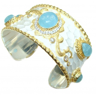 Enchanted Beauty Aquamarine 24K Gold over .925 Sterling Silver antique patina Bracelet / Cuff