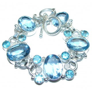 Incredible Genuine Quartz .925 Sterling Silver handcrafted Bracelet