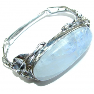 Moon Light best quality Rainbow Moonstone .925 Sterling Silver LARGE handcrafted Bracelet