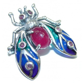 Vintage style Beauty genuine Ruby .925 Sterling Silver handmade Pendant - Brooch