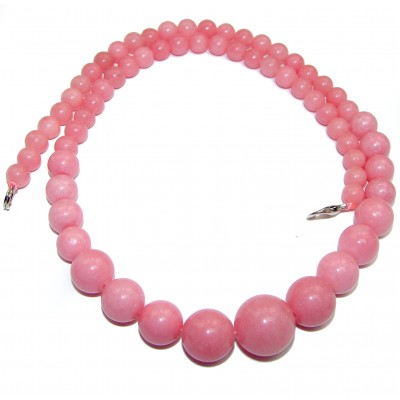 Huge Genuine Pink Opal .925 Sterling Silver handmade necklace