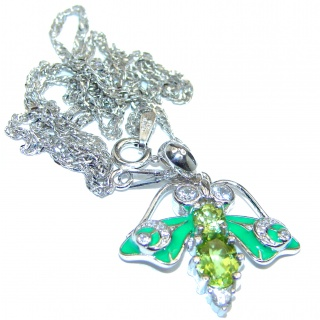 Awesome Natural Peridot Enamel .925 Silver Enamel Bee Necklace