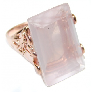baguette cut 65ctw Rose Quartz Rose Gold over .925 Sterling Silver brilliantly handcrafted ring s. 6