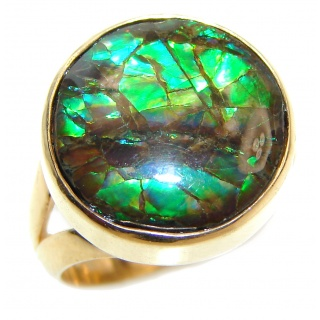 Genuine Canadian Ammolite 18K Gold over .925 Sterling Silver handmade ring size 7 adjustable