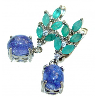 Perfect genuine Tanzanite .925 Sterling Silver handmade earrings