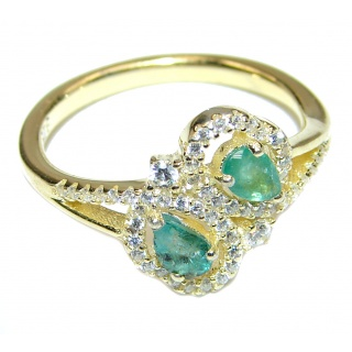 Elegant Emerald .925 Sterling Silver Ring s. 8