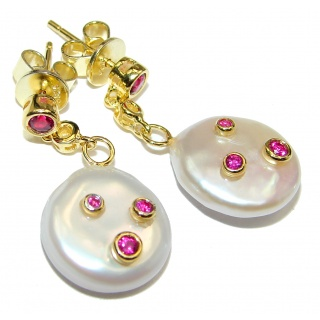 Precious genuine Mother of Pearl Ruby 24K Gold over .925 Sterling Silver earrings