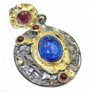 Perfect Lapis Lazuli 14K Gold over .925 Sterling Silver handcrafted Pendant