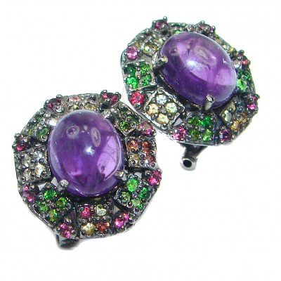 Perfect genuine Tanzanite & Chrome diopside .925 Sterling Silver handmade earrings
