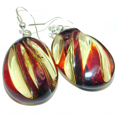 Exclusive Carved Baltic Amber .925 Sterling Silver ENTIRELY handmade Earrings