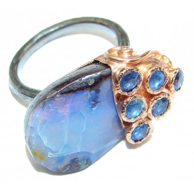 Vintage Design Australian Boulder Opal 18k Gold over .925 Sterling Silver handcrafted ring size 7 1/2