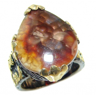 Genuine Fire Agate Mexican 14K Gold over .925 Sterling Silver Ring size 6