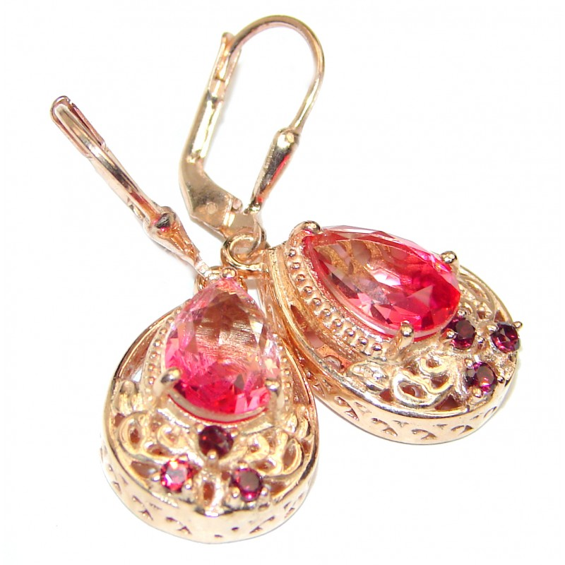 Pink Tourmaline color Topaz 18K Gold over .925 Sterling Silver entirely handmade earrings