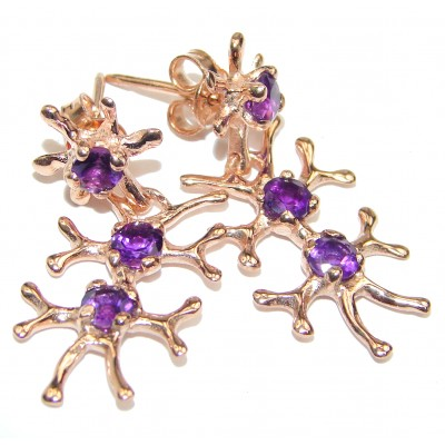 Delicate Golden Reefs Amethyst 18K Gold over .925 Sterling Silver earrings