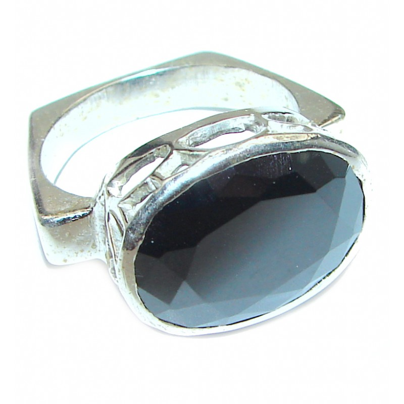 Very Bold Champagne Smoky Topaz .925 Sterling Silver Ring size 9